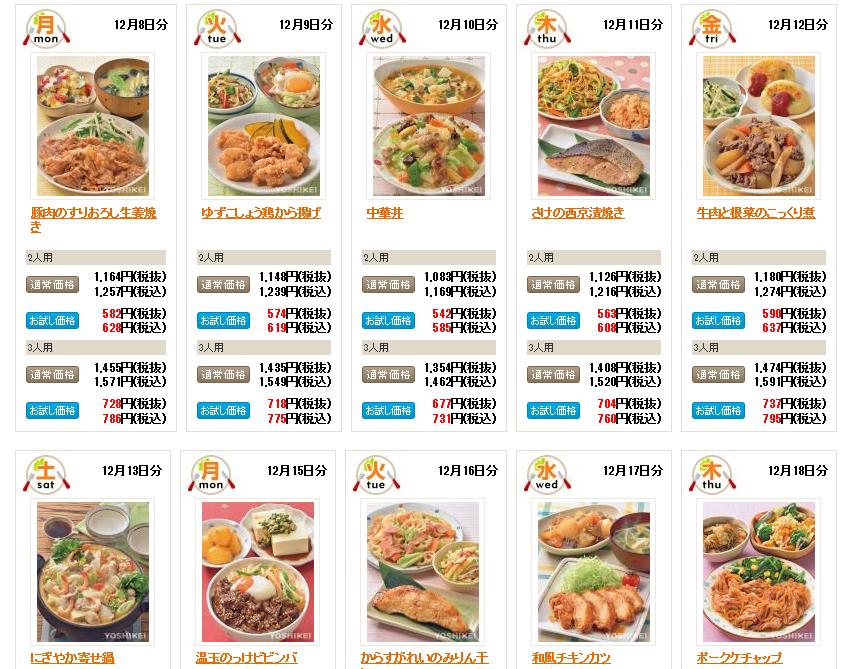 ヨシケイ料理キットサンプル